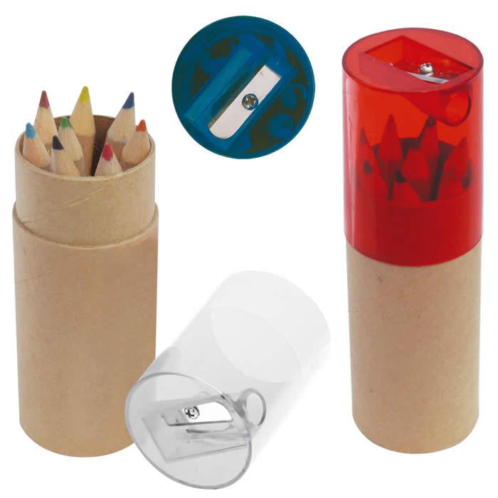 Set tubo de lapices de colores con zacapuntas ES65001, set ecoloras, regalo dia del niño